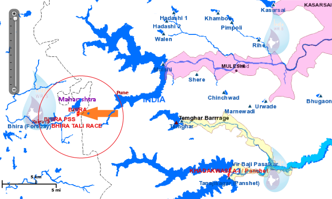 Bhira Hydro project, map shows the westward diversion