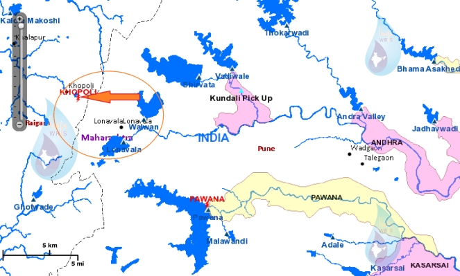 Bhivpuri project map, another Tata Dam showing how it is diverting water out of Krishna basin