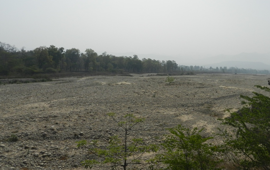 Dry Ganga at Haridwar in August 2012 Photo: SANDRP