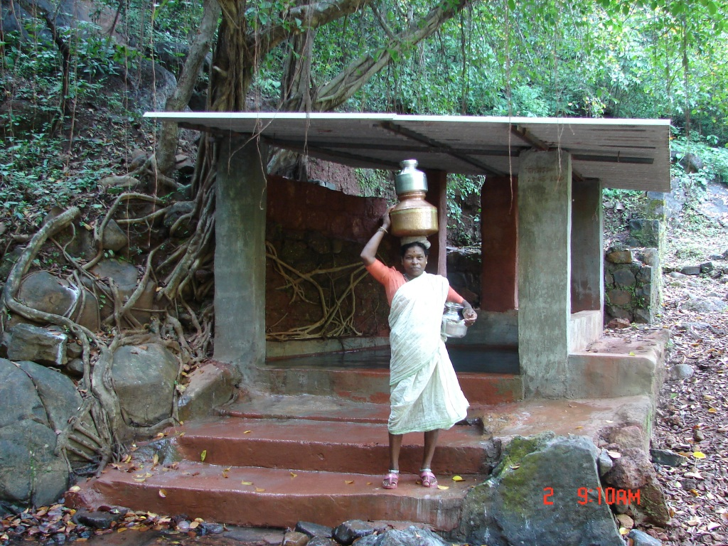 A lady collecting drinking water from a sacred grove in Western Ghats Photo: SANDRP