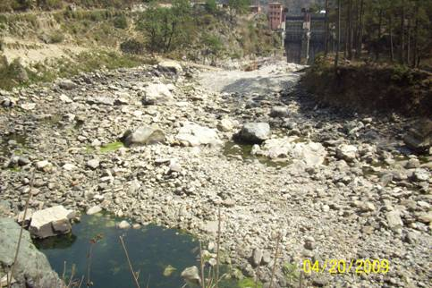 Dry Bhagirathi downstream Maneri bhali HEP Photo: Peoples science Institute
