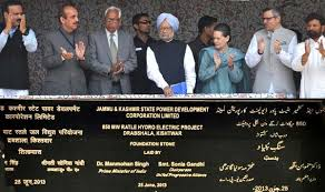 PM laying the foundation stone of Ratle Project Courtesy: Indian Express