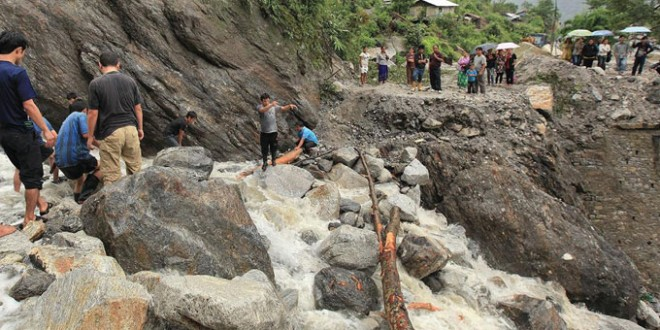 Landslides in Sikkim in 2012, following earthquake in 2011. Locals blame these on extensive blasting, tunnelling and deforestation for Teesta Hydropower Projects. Photo: Live Mint