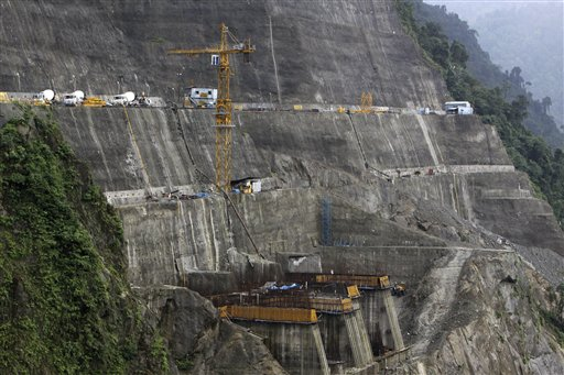 A view of the under-construction dam tunnels at the site of National Hydroelectric Power Corporation's 2000 megawatt Subansiri Lower hydroelectric project in Arunachal Pradesh state, India, Friday, Aug. 21, 2009. It is the biggest hydroelectric power project in India, located on a disputed border between Arunachal Pradesh state and Assam state. (AP Photo/Anupam Nath)