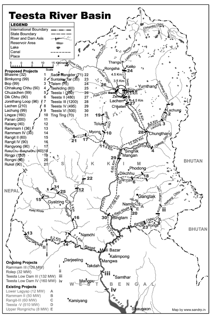 Dams underconstruction and planning in Teesta Basin, Sikkim. Map by SANDRP
