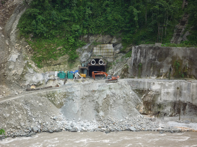 Tunnel for Teesta VI HEP in Sikkim, blasted in the mountains. Photo: Smair Mehta, International Rivers