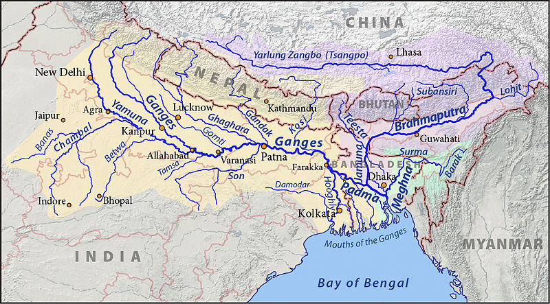 Map of Brahmaputra Basin from its origin to its confluence Source: http://en.wikipedia.org/wiki/Brahmaputra_River
