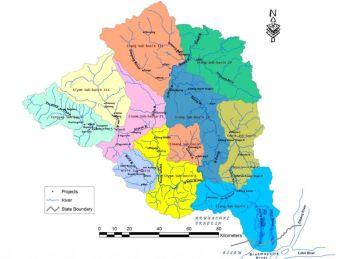 Sub-basin map of Siang River Source: Environment Assessment Report Siang Basin In Arunachal Pradesh, Interim Report June 2012