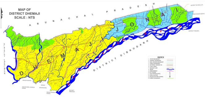 Map of Dhemaji District  Source - http://dhemaji.nic.in/flood/early_warning_system.htm