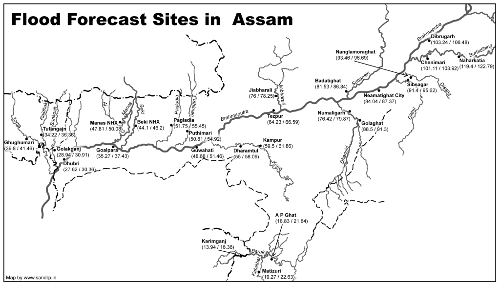 Map of Flood Forecasting Sites in Assam prepared by SANDRP