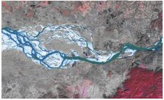 "Satellite image of the river Brahmaputra (2008) just downstream of Guwahati city indicating intense braiding. width of the river at pandu is 1.2 km but donstream is about 18km. Source: 'Riverbank erosion: a perspective"" a presentation by Dr. Bipul Talukdar, Assam Engineering College"