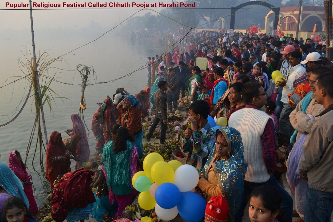 10. Popular Religious Festival called Chhatha Pooja at Harahi Pond (1)