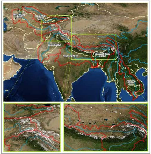 Map from the report showing the boundaries of the study basins (red line), state borders (light yellow line) and snow-covered high-altitude belts where glaciers are located (white spots
