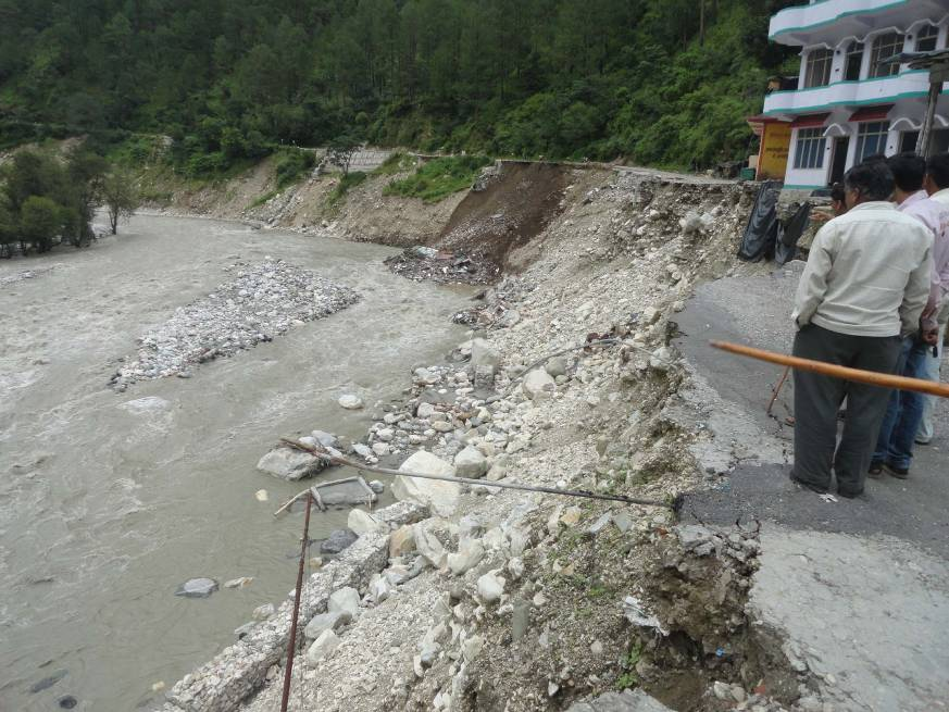 Road and structures washed away by the flash flood in the Yamuna river downstream from diversion head of the Gangani HEP.