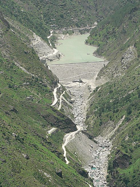 Dhauliganga before the disaster, with zero water flow downstream from the dam, killing a perennial river. Source: Author