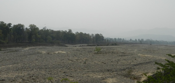 Ganga, completely dry downstream Bhimgouda Barrage, Haridwar Photo: Parineeta, SANDRP