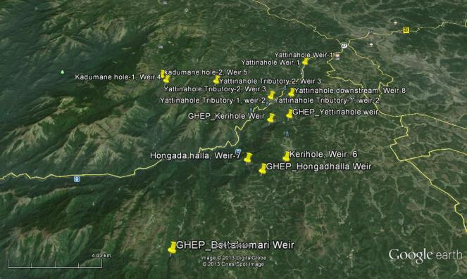 Locations of weirs and dams of Gundia and Yettinahole Projects SANDRP