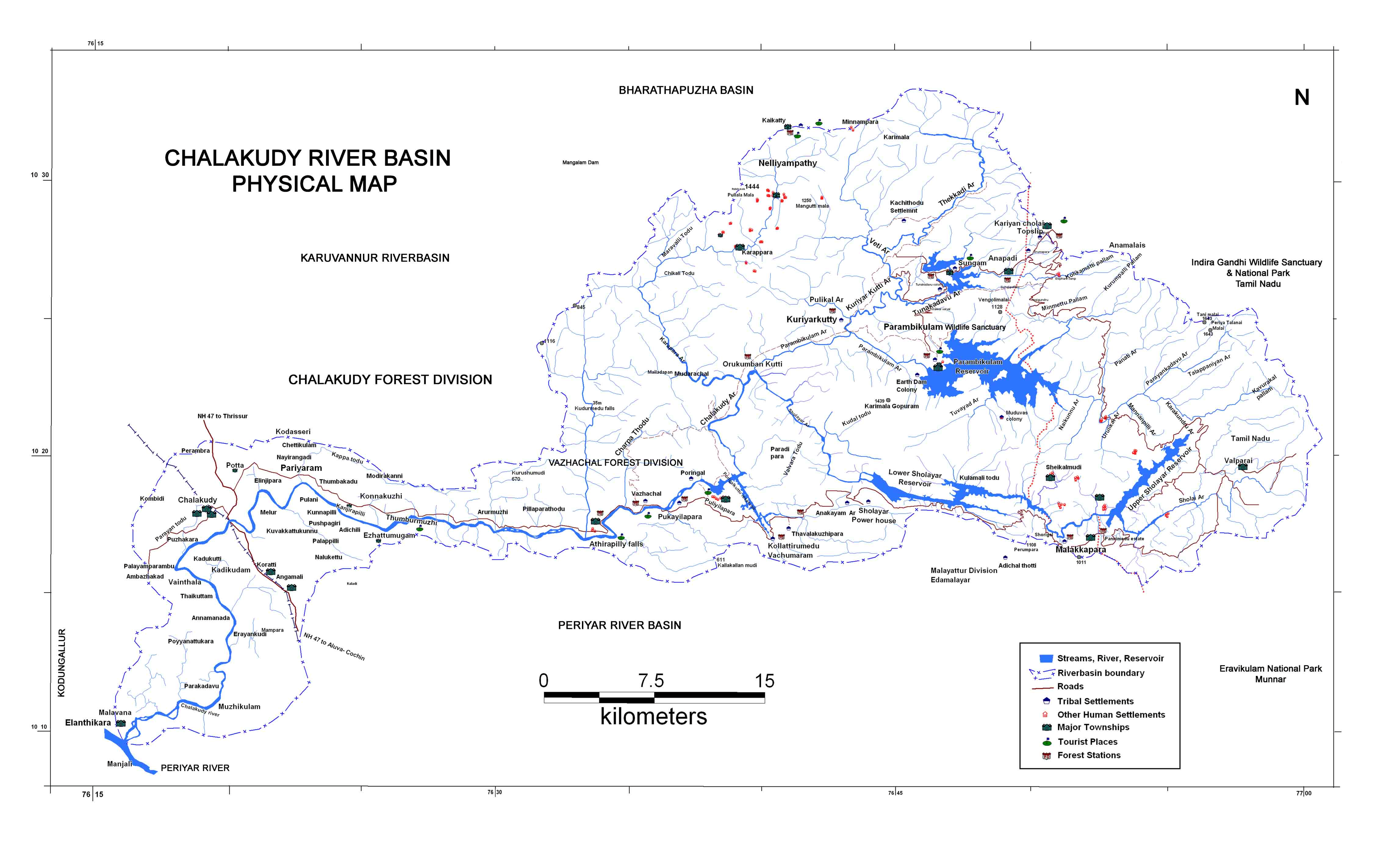 Chalakudy River Basin Physical Map