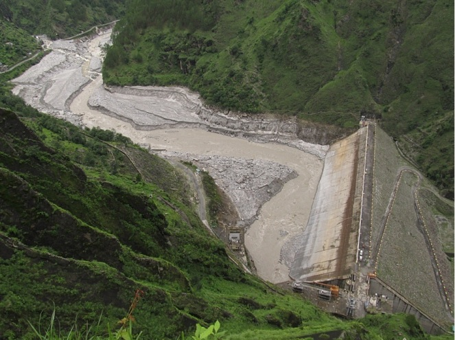 The Dhauliganga Hydro-power dam, after being flushed of bed-load sediment Source: Author