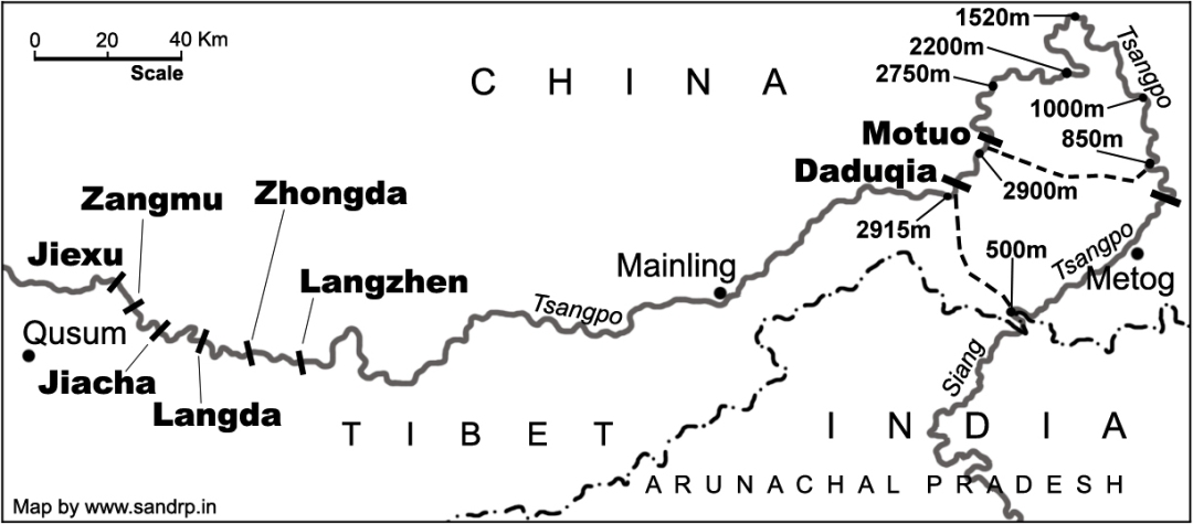 Proposed Chinese Dams on Yarlung Zangbo Source: SANDRP
