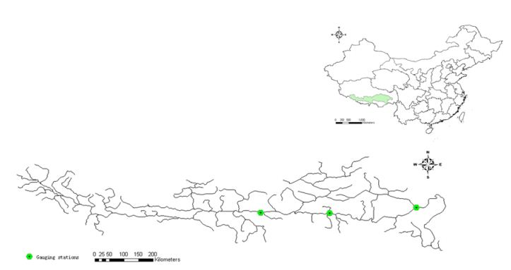 Three stations on Yarlung Zangbo - Nugesha, Yangcun and Nuxia (the green spots in the map represent these station)[iv]