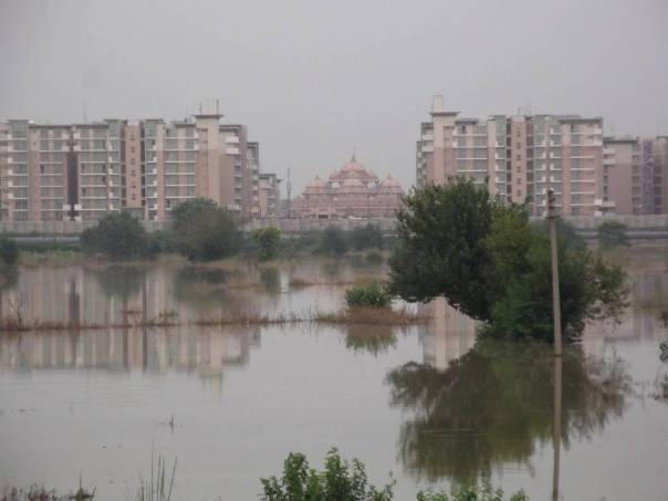 High Rises in the Flood Plains:  Akshardham Temple and Commonwealth Games village both were built in Yamuna flood plains