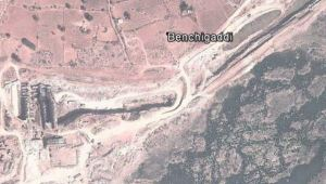 Figure 5. Tail canal near Benchigaddi village and the construction work of power house (Source: Google Earth)