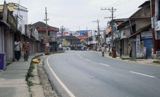 Closed shops in Wayanad during the strike. Photo: Deccan Chronicle