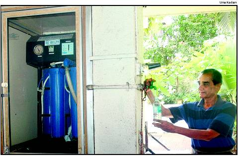 Navin Chandra, Sea Line Apratment with harvested rainwater. Photo: Times of India