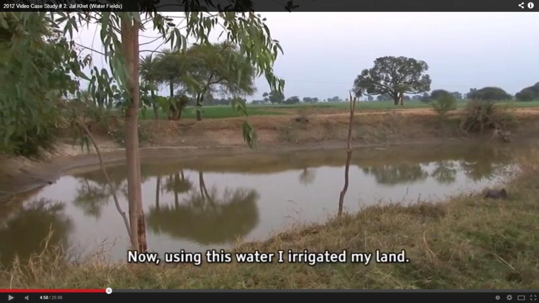 A screenshot from film Jal Khet showing a rainwater harvesting structure in a village in Dewas district in Malwa