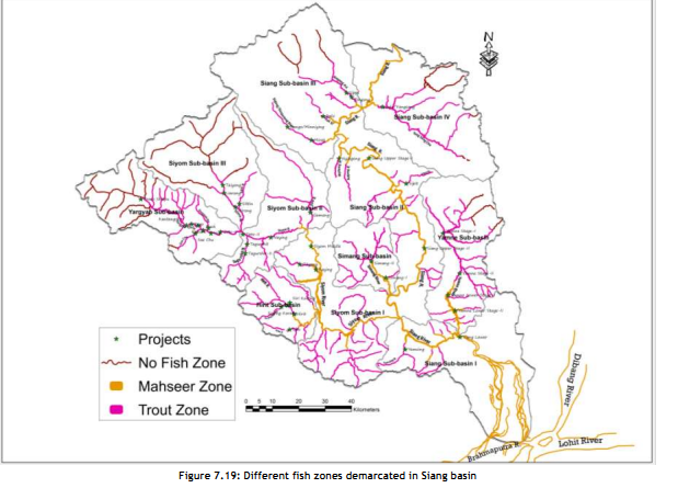 Division of the Basin into Trout and Mahseer Zones Photo: From CIA/ CCS Report of Siang Basin