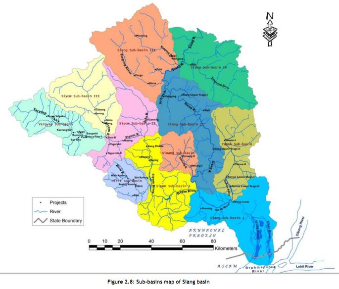 Division of the Siang Basin into sub basins Phot from : CIA/ CCS Report of the Siang Basin