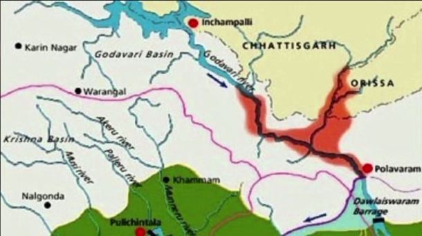 Location map of Polavaram with the Submergence area