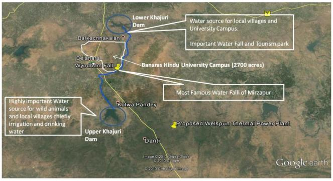 Picture 1: Map showing location of BHU Campus, Wyndham Fall, River Khajuri & Lower Khajuri Fall, presence of which were concealed in the EIA Report
