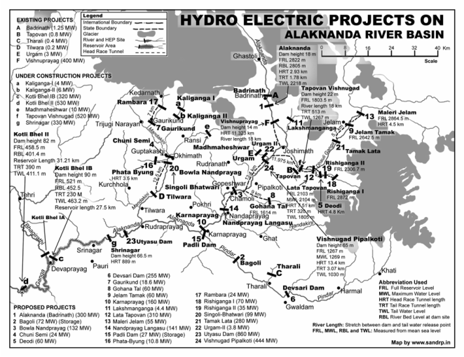 SANDRP Map of Bumper to Bumper hydropower projects in Alaknanda basin in Uttarakhand