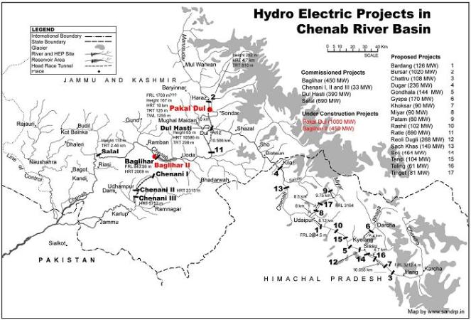Partial map of Hydro Electric Projects on Chenab river basin