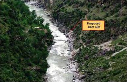 Proposed dam site for Kwar HEP