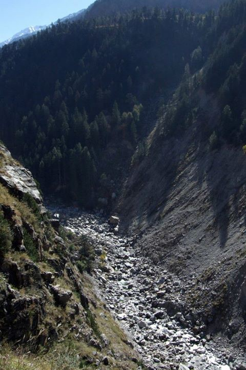 Dry Baspa River downstream Baspa II Dam, Himachal Pradesh
