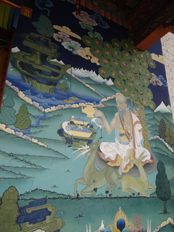 The concept of Six Longevities celebrated in the Bhutan: They include Man, Animals, Birds ( black Necked Cranes!), Montains, Trees and Rivers! Let us hope all these components are indeed conserved for long Photo: At Punakha Monastery, SANDRP