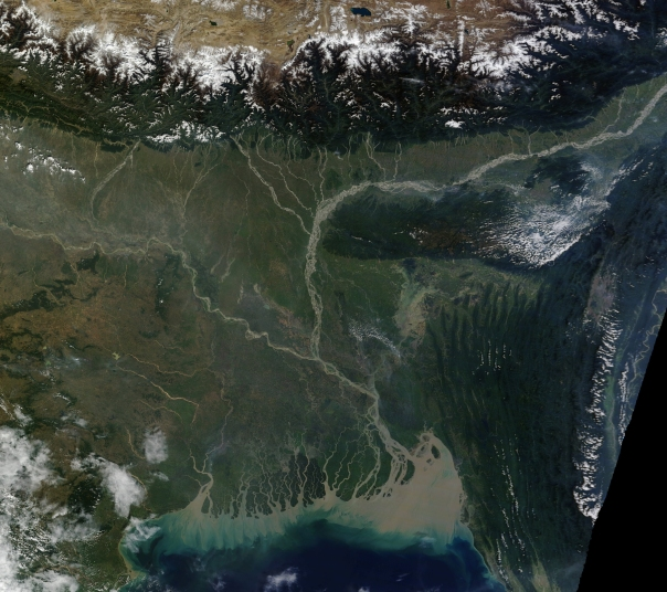 The Ganga Brahmaputra Delta, formed of rich sediment From: EO Snap.com