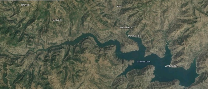 Google map showing Dimbhe Dam and location of Malin village close to the backwaters