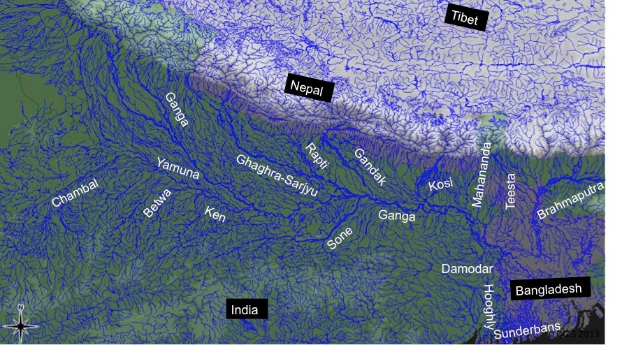 The major rivers of the Gangetic Basin (Based on 'hydro1k-rivers-Asia.dbf').