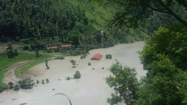 Rising reservoir behind landslide on Sunkoshi river, Nepalhub.com