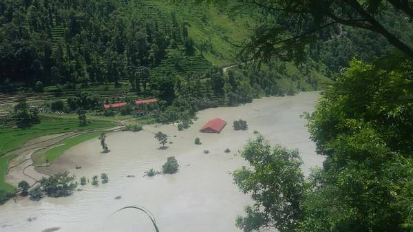 Rising reservoir behind landslide on Sunkoshi river, Nepalhub.com