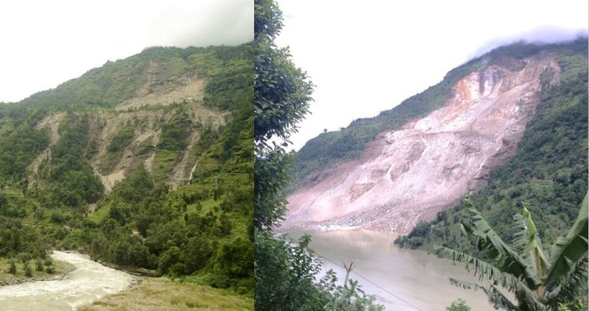 Sunkoshi Landslide of June 2013 and July 2014, courtesy ICIMOD