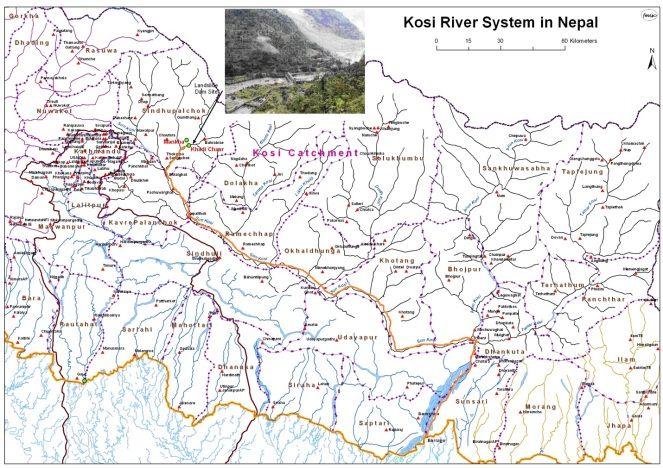 Map with orange line showing the path that the flood pulse from the landslide dam will take to reach Kosi in India, FMIS map
