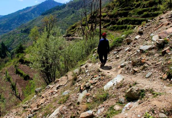 Landslide at Alwas due to road and channel construction for 5 MW Tarela project in Chamba