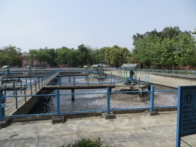 Aeration basins at the Dinapur sewage treatment plant