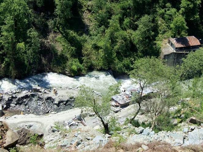 Power house site of Chanju HEP, where 1000s of trees were damaged by the blasting for the tunnel construction due to activation of a landslide