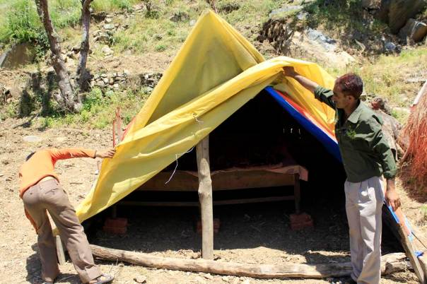 People of Dhalanjan village are now residing in temporary shelters